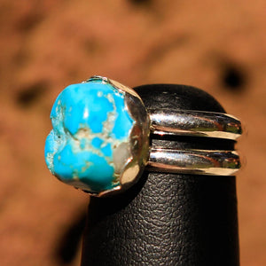 Turquoise (Sleeping Beauty) Cabochon and Sterling Silver Ring (SSR 1014)