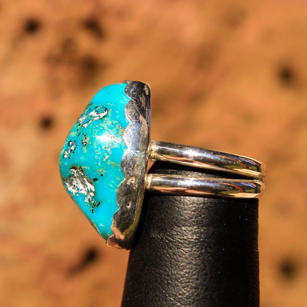 Turquoise Cabochon and Sterling Silver Ring (SSR 1016)