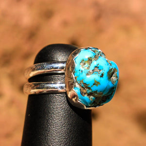 Turquoise Cabochon and Sterling Silver Ring (SSR 1017)