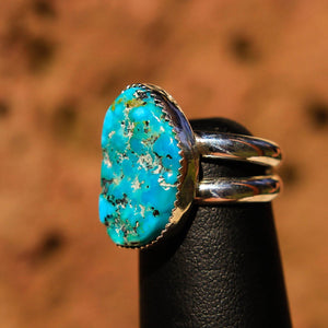 Turquoise Cabochon and Sterling Silver Ring (SSR 1018)