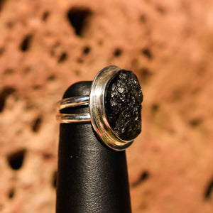 Moldavite Cabochon and Sterling Silver Ring (SSR 1023)