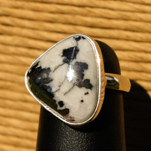 Silver Ore in Quartz Cabochon and Sterling Silver Ring (SSR 1033)