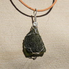 Load image into Gallery viewer, Moldavite and Sterling Silver Wire Wrap Pendant (SSWW 1001)