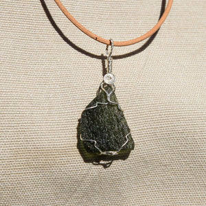 Moldavite and Sterling Silver Wire Wrap Pendant (SSWW 1001)