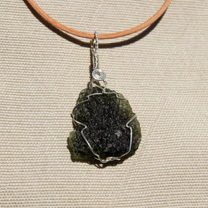 Moldavite and Sterling Silver Wire Wrap Pendant (SSWW 1002)