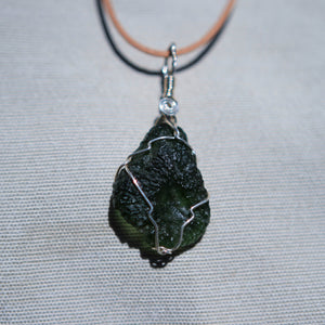 Moldavite and Sterling Silver Wire Wrap Pendant (SSWW 1003)