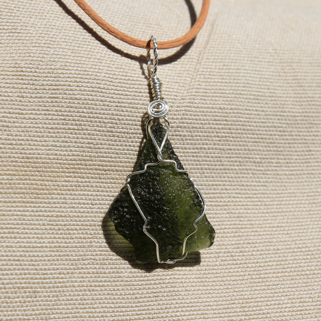Moldavite and Sterling Silver Wire Wrap Pendant (SSWW 1005)