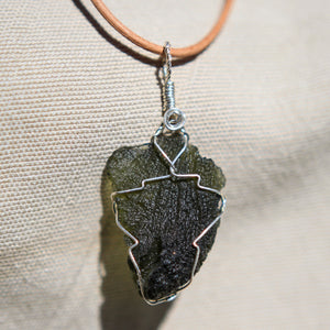 Moldavite and Sterling Silver Wire Wrap Pendant (SSWW 1008)