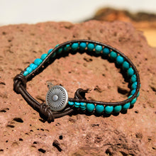 Load image into Gallery viewer, Turquoise Bead and Leather Wrap Bracelet (WB 11)