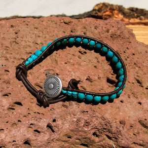 Turquoise Bead and Leather Wrap Bracelet (WB 11)