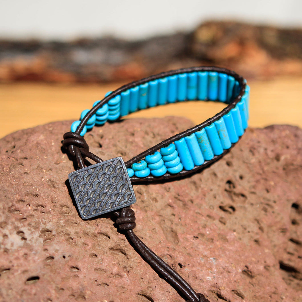 Turquoise (Magnesite) Bead and Leather Wrap Bracelet (WB 13)