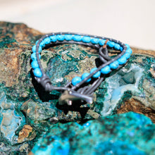 Load image into Gallery viewer, Turquoise (Howlite) Bead and Leather Wrap Bracelet (WB 14)