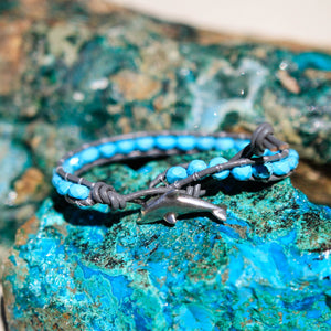 Turquoise (Howlite) Bead and Leather Wrap Bracelet (WB 14)