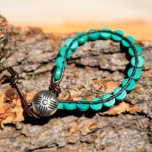 Load image into Gallery viewer, Turquoise (Magnesite) Bead and Leather Wrap Bracelet (WB 15)