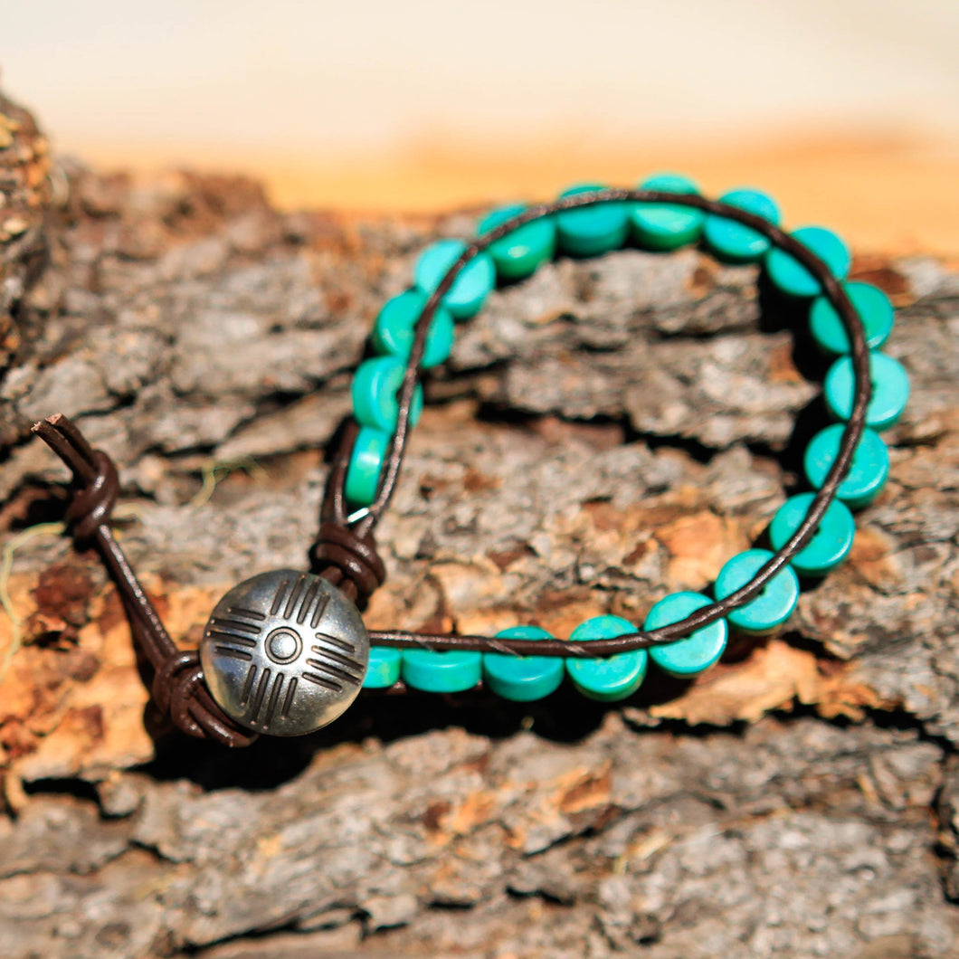 Turquoise (Magnesite) Bead and Leather Wrap Bracelet (WB 15)