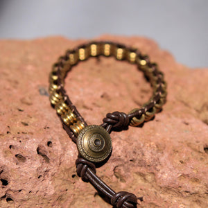 Brass Metal Bead and Leather Wrap Bracelet (WB 18)