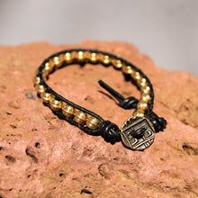 Load image into Gallery viewer, Metal (Brass) Bead and Leather Wrap Bracelet (WB 19)