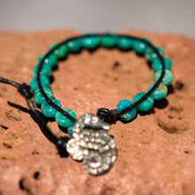 Load image into Gallery viewer, Amazonite Bead and Leather Wrap Bracelet (WB 24)