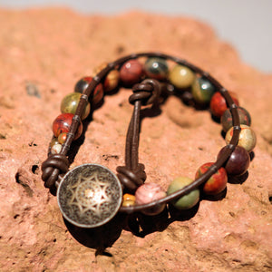 Cherry Creek (Red Creek) Jasper Bead and Leather Wrap Bracelet (WB 26)