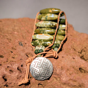 Rain Forest Jasper Bead and Leather Wrap Bracelet (WB 22)