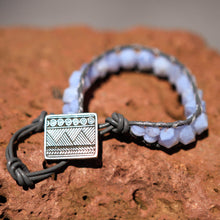 Load image into Gallery viewer, Blue Lace Agate Bead and Leather Wrap Bracelet (WB 27)
