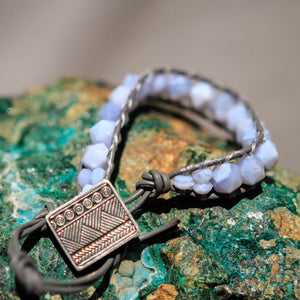Blue Lace Agate Bead and Leather Wrap Bracelet (WB 27)
