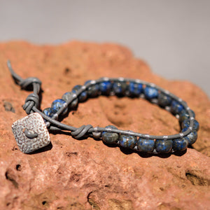 Sodalite Bead and Leather Wrap Bracelet (WB 31)