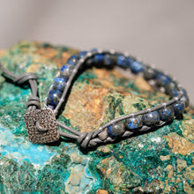 Load image into Gallery viewer, Sodalite Bead and Leather Wrap Bracelet (WB 31)