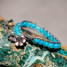 Load image into Gallery viewer, Amazonite Bead and Leather Wrap Bracelet (WB 33)