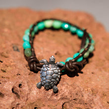 Load image into Gallery viewer, Chrysoprase Bead and Leather Wrap Bracelet (WB 34)