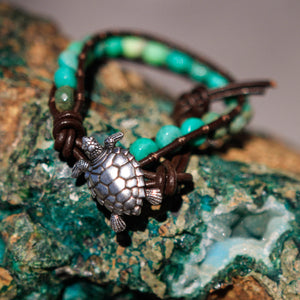 Chrysoprase Bead and Leather Wrap Bracelet (WB 34)