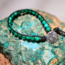 Load image into Gallery viewer, Malachite Bead and Leather Wrap Bracelet (WB 35)