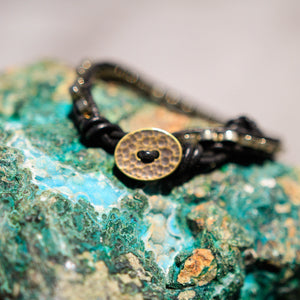 Pyrite Bead and Leather Wrap Bracelet (WB 36)