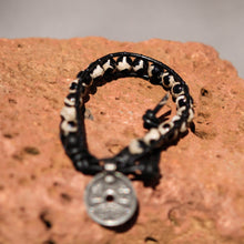 Load image into Gallery viewer, Dalmation Jasper Bead and Leather Wrap Bracelet (WB 37)