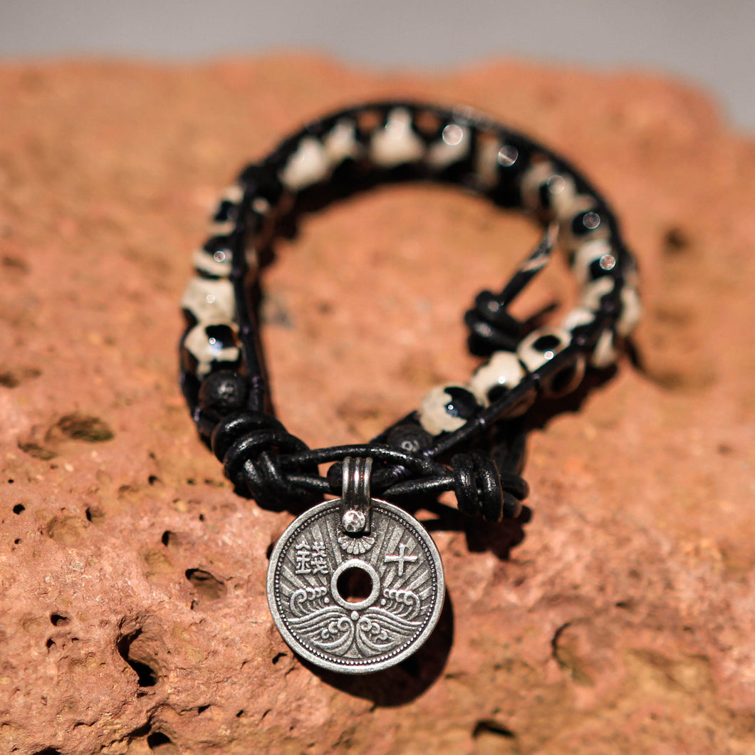 Dalmation Jasper Bead and Leather Wrap Bracelet (WB 37)
