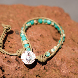 Peruvian Opal Bead and Leather Wrap Bracelet (WB 39)