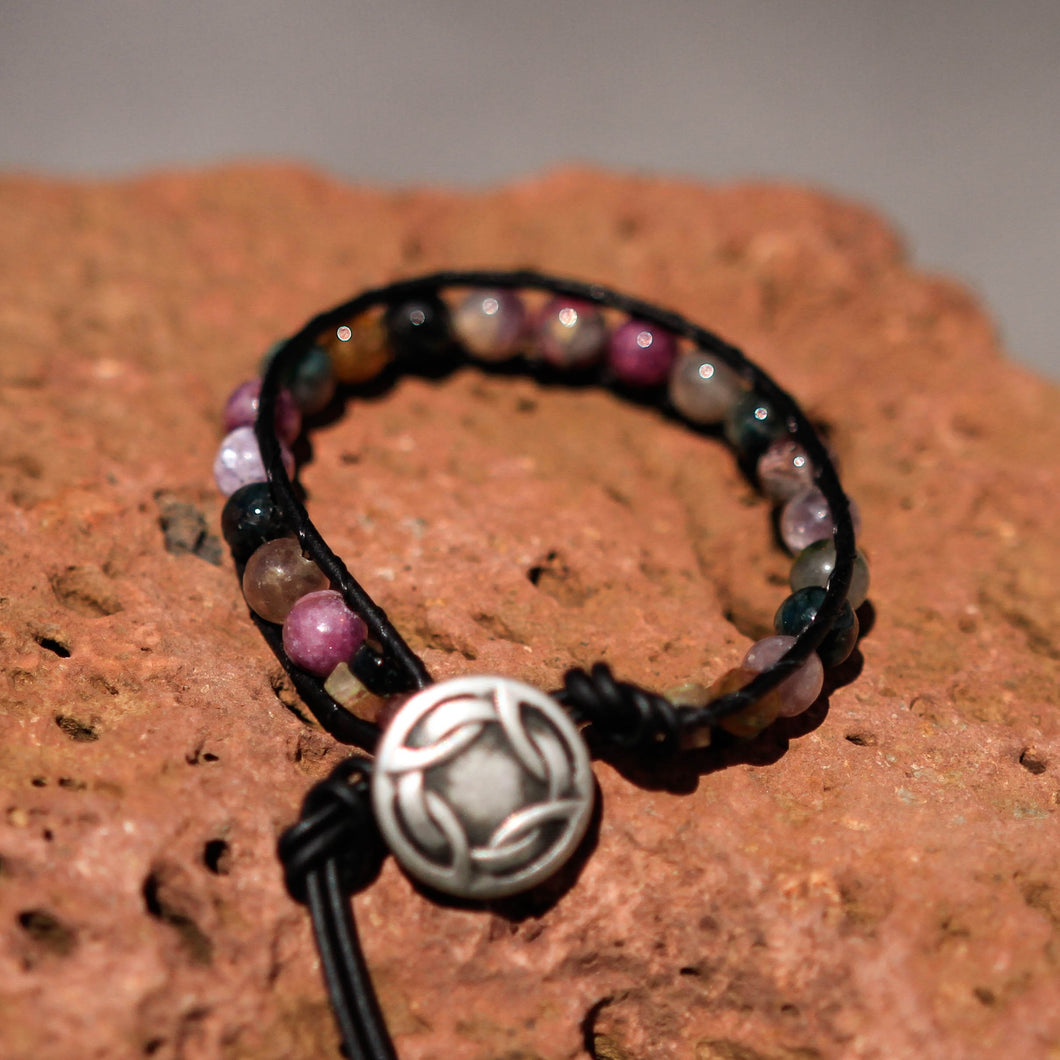 Tourmaline Bead and Leather Wrap Bracelet (WB 40)