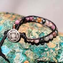 Load image into Gallery viewer, Tourmaline Bead and Leather Wrap Bracelet (WB 40)