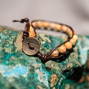 Picture Jasper Bead and Leather Wrap Bracelet (WB 42)