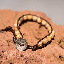 Load image into Gallery viewer, Picture Jasper Bead and Leather Wrap Bracelet (WB 42)