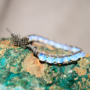 Opalite Bead and Leather Wrap Bracelet (WB 49)