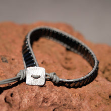 Load image into Gallery viewer, Hematite Bead and Leather Wrap Bracelet (WB 50)