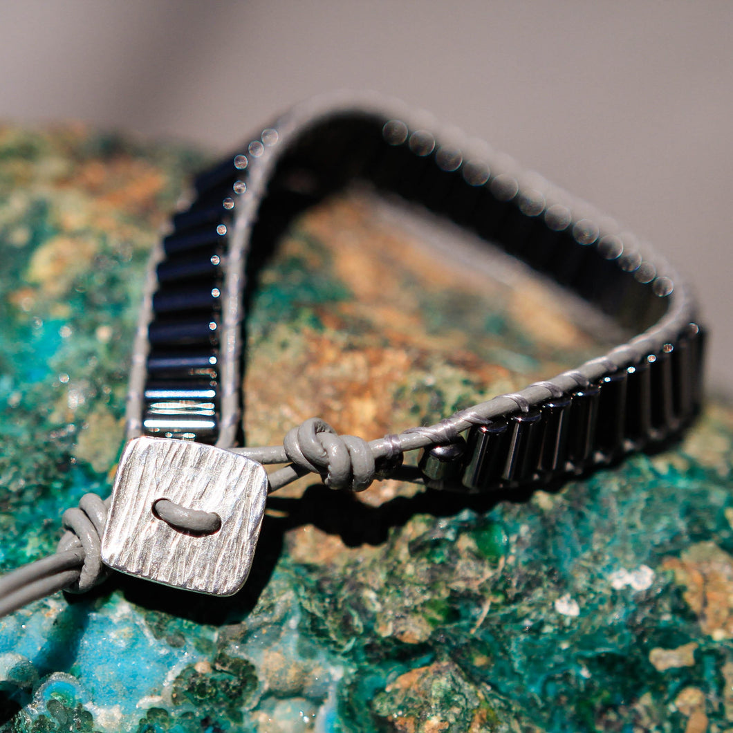 Hematite Bead and Leather Wrap Bracelet (WB 50)