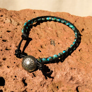 Turquoise Bead and Leather Wrap Bracelet (WB 51)