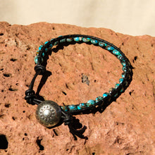 Load image into Gallery viewer, Turquoise Bead and Leather Wrap Bracelet (WB 51)