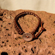 Load image into Gallery viewer, Copper Metal Bead and Leather Wrap Bracelet (WB 52)