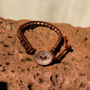 Copper Metal Bead and Leather Wrap Bracelet (WB 52)