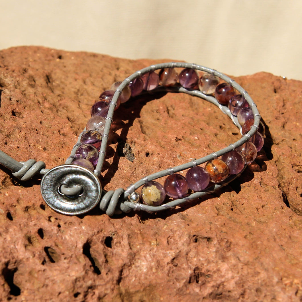 Super Seven Bead and Leather Wrap Bracelet (WB 53)