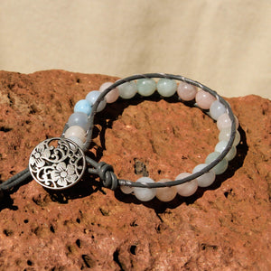Morganite Bead and Leather Wrap Bracelet (WB 54)