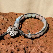 Load image into Gallery viewer, Morganite Bead and Leather Wrap Bracelet (WB 54)